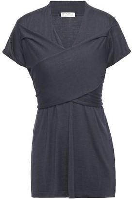 Brunello Cucinelli Wrap-effect Cashmere And Silk-blend Top