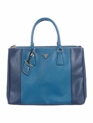 Prada Medium Saffiano Lux Bicolor Double-Zip Galleria Tote blue
