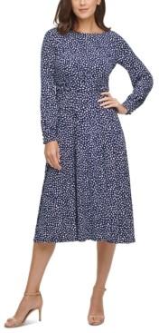 Jessica Howard Petite Ruched-Waist Midi Fit & Flare Dress