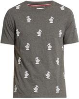 Moncler Gamme Bleu Duck-embroidered crew-neck cotton T-shirt