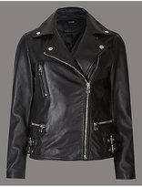Autograph Leather Biker Coat