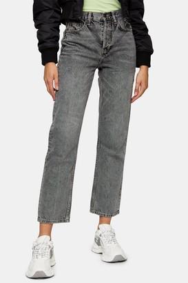 Topshop Womens Grey Editor Straight Jeans - Grey