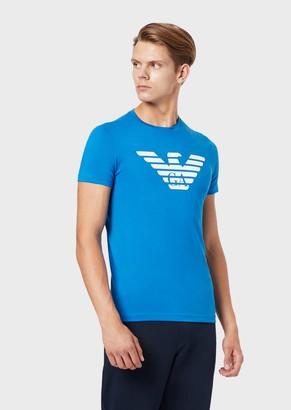 Emporio Armani Pima Cotton Jersey T-Shirt With Printed Logo
