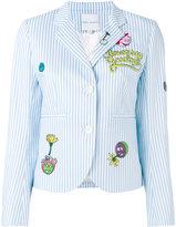 Mira Mikati cartoon patch striped jacket - women - Cotton/Acetate/Cupro - 38