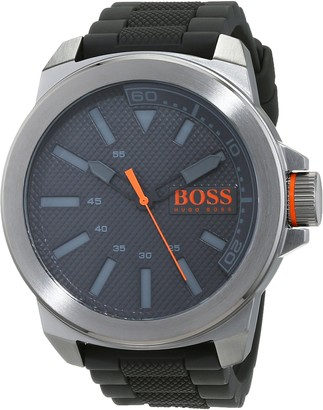 HUGO BOSS Orange New York Men's Quartz Analogue Classic Grey Silicone Strap 1513005