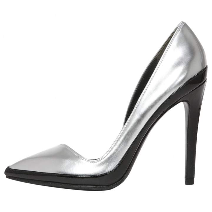 Anthony Vaccarello Silver Leather Heels