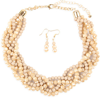 Riah Fashion Women's Earrings LIGHT - Light Brown Crystal & Goldtone Twist Beaded Statement Necklace Set