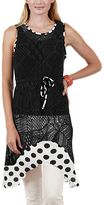 Aster Black & White Polka Dot Lace Sidetail Tunic - Plus Too
