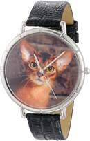 Whimsical Watches Women's T0120033 Unisex Abyssinian Cat Black Leather And Silvertone Photo Watch