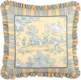 "Legacy 20""Sq. Lutece Cypress Toile Pillow w/ Striped Ruffle"