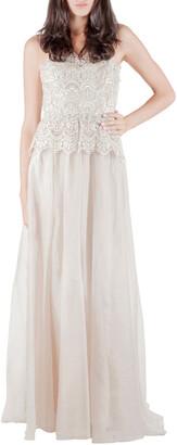 Badgley Mischka Ivory Gold Embellished Peplum Lace Bodice Strapless Evening Gown S
