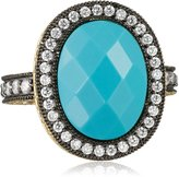 """Freida Rothman Hamptons"""" Two-Tone Turquoise-Color and Cubic Zirconia Cocktail Ring, Size 7"""