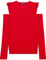 DKNY Cold-shoulder Ruffled Knitted Sweater - Red