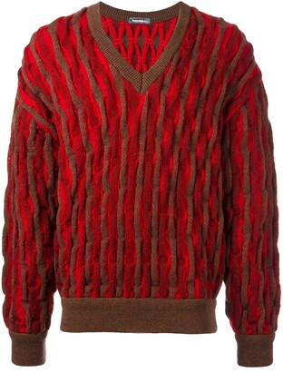 Issey Miyake Pre Owned textured v-neck jumper