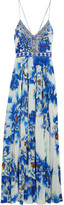 Camilla Crystal-embellished Printed Silk And Crepe De Chine Maxi Dress - Blue