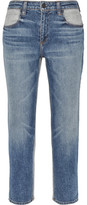 Alexander Wang Ride Cropped Two-tone High-rise Slim-leg Jeans - Mid denim