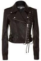 McQ Eyelet Leather Biker Jacket