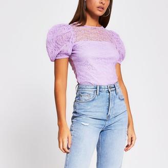 River Island Womens Light Purple short puff sleeve lace top