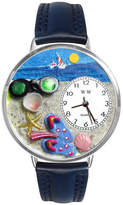 Whimsical Watches Personalized Flip-Flop Womens Silver-Tone Bezel Blue Leather Strap Watch