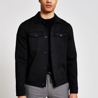 River Island Black button front skinny fit western jacket