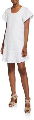 Joie Carlen Scoop-Neck Linen Shift Dress