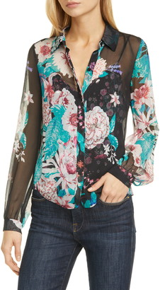 Diane von Furstenberg Dalary Floral Silk Button-Up Blouse