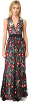 Alice + Olivia Ally Embroidered V Neck Gown