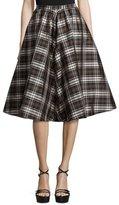 Michael Kors High-Waist Plaid Full Skirt, Black/Nutmeg