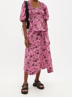 Ganni Rose-print Organic-cotton Midi Skirt - Pink