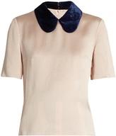 Roksanda Madden velvet-collar silk-blend top