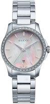 Gucci Women's Swiss G-Timeless Diamond (1/4 ct. t.w.) Stainless Steel Bracelet Watch 27mm YA126543