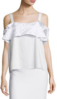 Maiyet Tiered-Ruffle Cold-Shoulder Top, Chalk