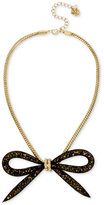 Betsey Johnson Gold-Tone Large Mesh Bow Statement Necklace