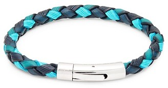 Tateossian Braided Leather Stainless Steel Bracelet