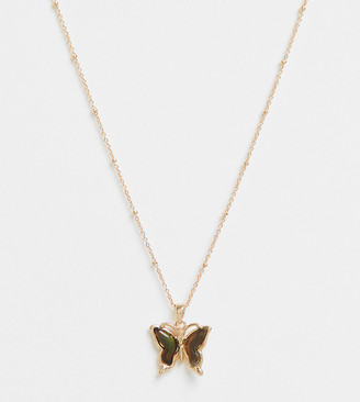 ASOS DESIGN Curve necklace with mood butterfly pendant in gold tone