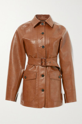 LVIR Belted Faux Leather Jacket - Brown