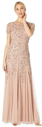 Adrianna Papell Floral Beaded Godet Evening Gown (Rose Gold) Women's Dress