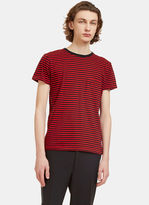 Saint Laurent Men's Striped Crew Neck T-shirt In Black And Red