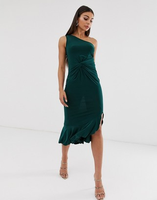 Club L London one shoulder ruffle dress