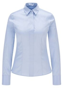 HUGO BOSS Slim Fit Blouse With Darted Seam Detail - Light Blue
