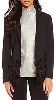 Chelsea & Theodore Notch Collar Long Sleeve Feather Blazer