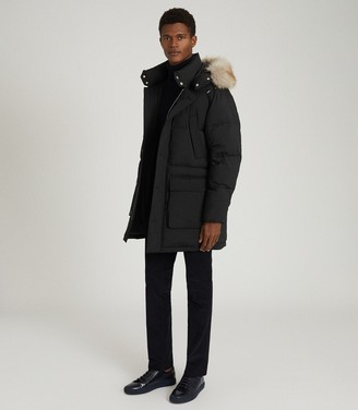 Reiss Saunders - Faux Fur Hooded Parka in Black
