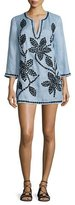 Tory Burch 3/4-Sleeve Embroidered Tunic, Blue Lupine