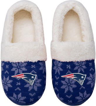Women's New England Patriots Ugly Knit Moccasin Slippers