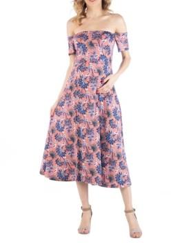 24seven Comfort Apparel Off Shoulder Soft Flare Botanical Print Maternity Midi Dress