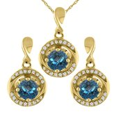 Sabrina Silver 14K Yellow Gold Natural London Topaz Earrings and Pendant Set with Diamond Accents Round 4 mm