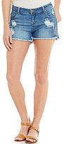 Celebrity Pink Destructed Embroidered Frayed Hem Stretch Denim Shorts