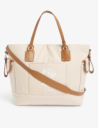 Chloé Logo embroidered cotton changing bag