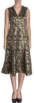 Anne Klein Women's Metallic Printed Seamed Fit and Flare Dress