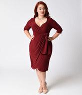 Kiyonna Plus Size Merlot Red Faux Wrap Harlow Dress